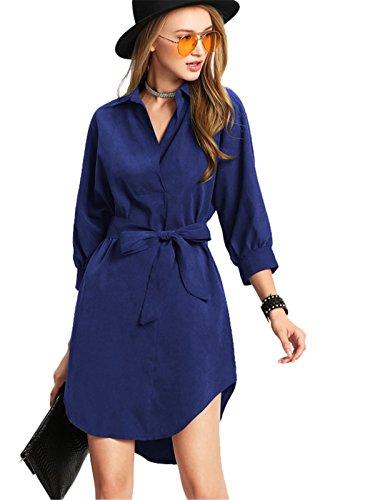Haroty Donna Vestito Tinta Unita Abito Da Camicia Manica A 3/4 Vestiti Da Lace Up Blu