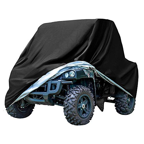 (Waterproof ATV Cover, GES Heavy Duty Black Protects UTV 4 wheeler cover from Snow Rain, Hail, Dust, Snow, Sleet, and Sun, Integrated Trailer System(XXL))