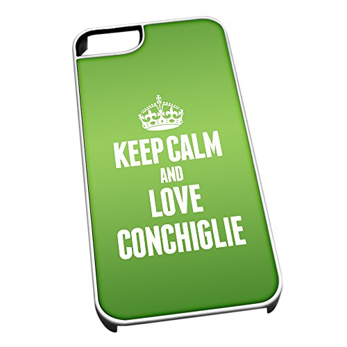 Bianco cover per iPhone 5/5S 0988 verde Keep Calm and Love conchiglie