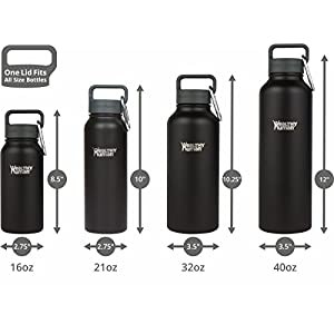 Healthy Human 16 oz Water Bottle - Cold 24 Hrs, Hot 12 Hrs. 4 Sizes & 12 Colors. Double Walled Vacuum Insulated Stainless Steel Thermos Flask with Carabiner & Hydro Guide. Color: Black Tie
