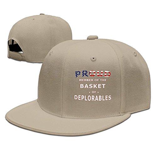 Karoda Proud Member Of The Basket Of Deplorables Flat Brim Baseball Caps Hip Hop Hat Natural