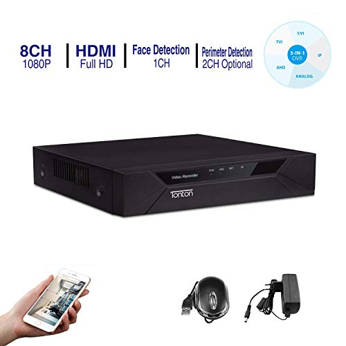 Tonton Full HD 1080P 8 Channel HD-TVI DVR Network Digital Video Recorder Free APP Remote Access,Motion Detection, HDMI VGA Output,5-in-1 DVR:Analog/AHD/TVI/CVI/IP (No HDD Included) ()