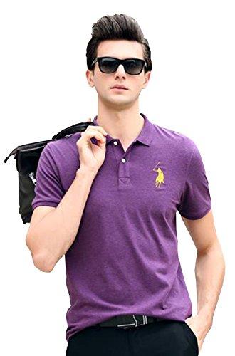 PuHao (プハオ) メンズ ポロシャツ 半袖 夏 カジュアル スポーツウェア ゴルフウェア シンプル 通気性 薄手 吸汗 polo ファッション カッコイイ Tシャツ (バイオレット02, XL)