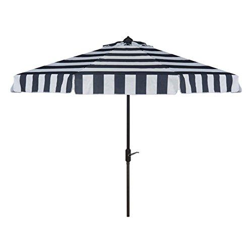 Safavieh PAT8003B Outdoor Collection Elsa Fashion Line Auto Tilt Umbrella, 9', Navy/White