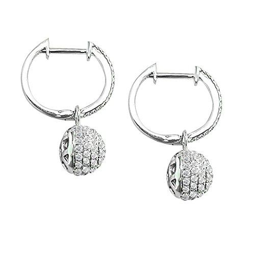 Diamond Wish 14k White Gold Pave Diamond Ball Dangle Earrings (5/8 cttw)