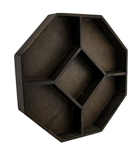 Pyramid Shelving - Wood Hanging Shelves Dark Brown Wooden Geometric Hexagon Crystal Display Shelf 13.75 X 13.75 X 2.13 Inches Brown