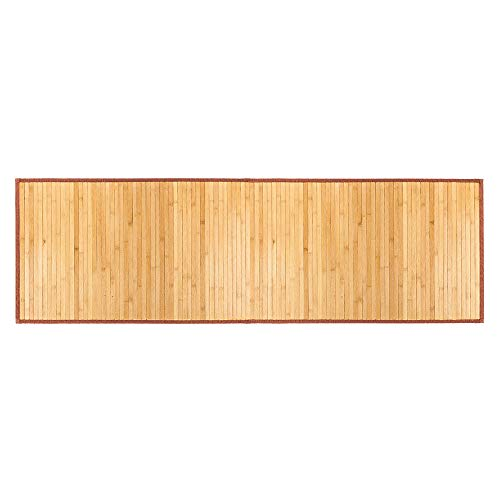 (OxiQmart Bathroom Natural Bamboo Smooth Floor Mat Exotic Shower Bath Non Skid 24