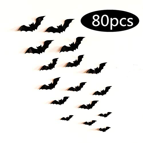 Halloween Bat Decoration (Fashionwu 3D Bats Stickers, Halloween Party Supplies Waterproof Scary Bats Wall Decals DIY Home Window Decor, Removable Bats Stickers for Indoor Outdoor Halloween Wall Decorations -)