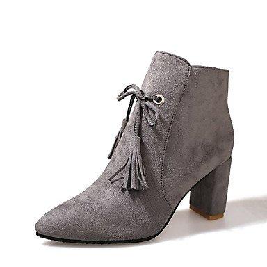 Best 4U® Damen Stiefel Stiefel Stiefel Komfort Springerstiefel Herbst Winter Nubukleder Kleid Party & Festivität Tassel(n) Reißverschluss Blockabsatz Schwarz Grau 1f0f98