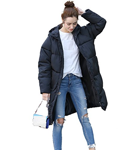 KeepMoving Women's Winter Thicken Warm Hoodie Down Jacket Fashion Plus-Size Zipper Long Overcoat Puffer (X-Large, Black) (Extra Long Coat)