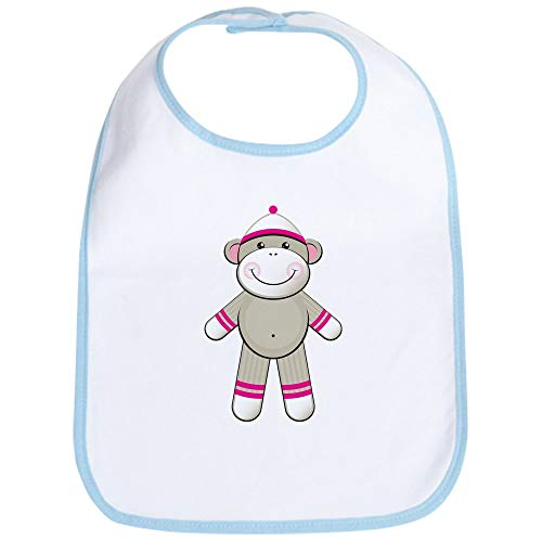 - CafePress Pink Sock Monkey Bib Cute Cloth Baby Bib, Toddler Bib