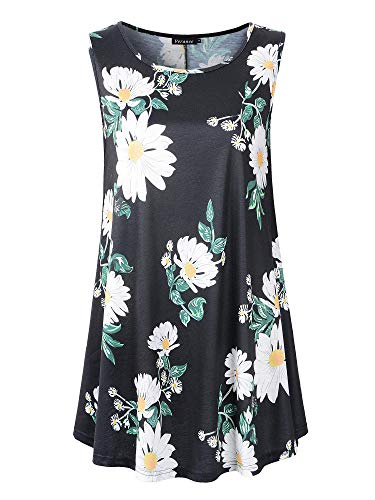 Veranee Women's Sleeveless Swing Tunic Summer Floral Flare Tank Top (Small, 6-35)