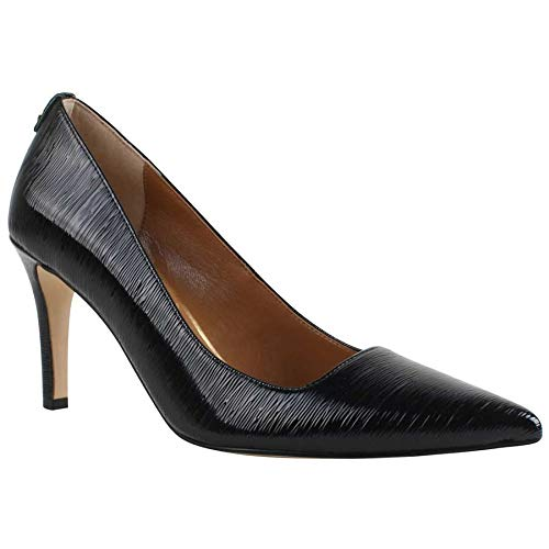 (J. Renee Women's Sascha Pump,Black Faux Crinkle Patent Leather,US 7)
