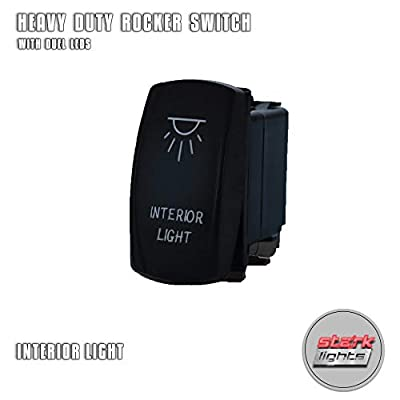 INTERIOR LIGHTS - White - Switch Dual Light - STARK Laser Etched LED Rocker - 20A 12V ON/OFF 5-PIN: Automotive