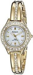 Armitron Women's 75/5296MPGP Swarovski Crystal Accented Gold-Tone Bangle Watch