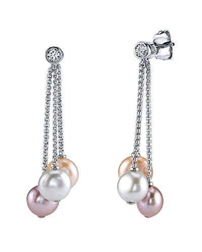 - THE PEARL SOURCE 7-8mm Genuine Multicolor Freshwater Cultured Pearl & Cubic Zirconia Elaine Earrings for Women