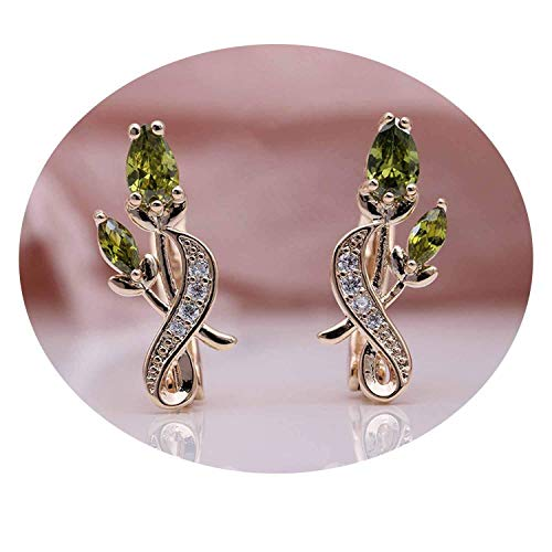 spyman Rose Flower Earring Women Noble Cute Jewelry 585 Rose Gold Water Drop Cubic Zircon Dangle Earrings,OliveGreen