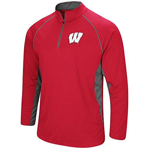 (Colosseum Men's NCAA-Rival-1/4 Zip Pullover-Wisconsin Badgers-Cardinal-Large)