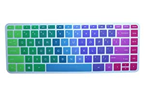 Colorful Keyboard Cover for HP 14-ab 14-ac 14-ad 14-an, Stream 14-ax Series,14-ab010 14-ab166us 14-ac159nr 14-al062nr 14-an010nr 14-an013nr 14-an080nr 14-ax010nr 14-ax020nr ax020wm ax050nr (Rainbow)