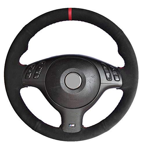 (Loncky Black Suede Auto Custom Steering Wheel Covers for BMW E46 E39 330i 330Ci 525i 530i 540i M3 2001 2012 2003)