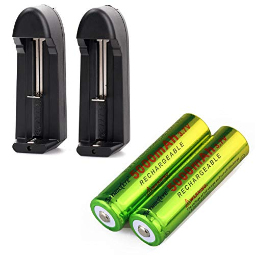 Skywolfeye 18650 Rechargeable Batteries 5000mAh 3.7V Lithium and Li-ion 18650 18500 16340 14500 26650 Universal Smart Battery Charger (2PC Charger+ 2PC 18650 Battery 5000 mAh)