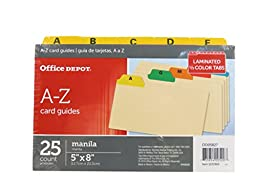 Office Depot A-Z Card Guides with Laminated Tabs in Assorted Colors - 25 Count