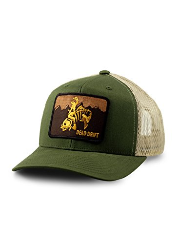 Dead Drift Fly Fishing Hat Wild West Wyoming Trucker Olive/Khaki (One Size, Olive/Khaki)