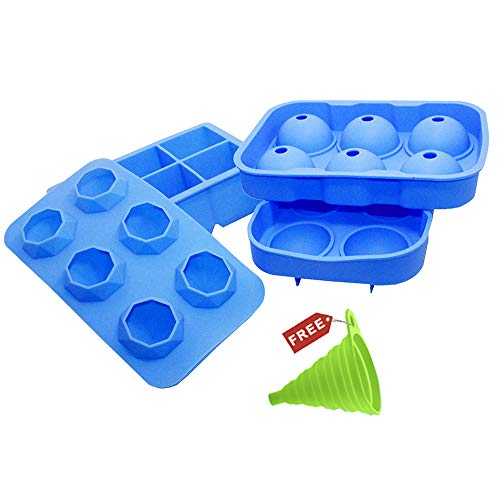 Silicone Ice Cube Trays, DanziX 3 Pack Sphere Ice Ball Maker with Lid & Square Mold&Diamond molds, Reusable and BPA Free for Whiskey Beverage, with 1 Folding Funnel - Blue