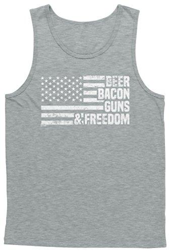 Blittzen Mens Tank Beer Bacon Guns & Freedom, XL, Light Gray (Amendments 6 10 Of The Bill Of Rights)