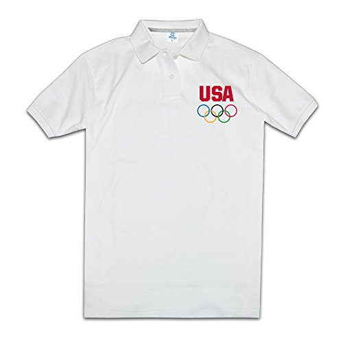 Mens Artist Short Sleeve USA Rio 2016 LOGO Polo T-shirt Size XL Color White