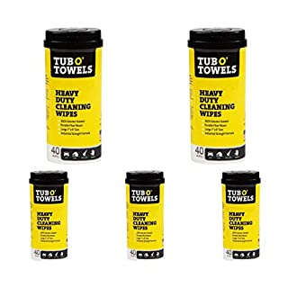 """Tub O Towels Heavy-Duty 7"""" x 8"""" Size Multi-Surface Cleaning Wipes, 40 Count Per Canister - 5 Pack"""