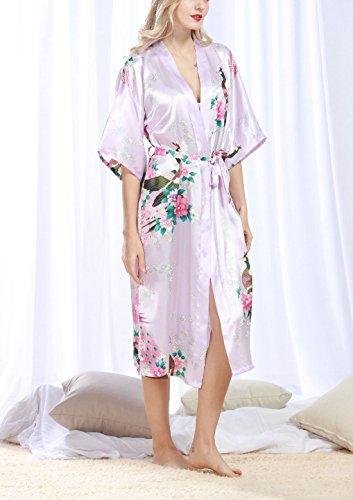 Feoya - Albornoz Ropa de dormir Kimono para Mujer Estampado Floral Pavo Real Vestido de Baño Verano Primavera Violeta