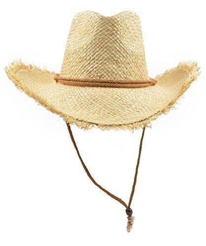 Melesh Adult Natural Raffia Straw Western Cowboy Hat (Raffia Western Straw)