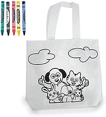 DISOK - Bolsa para Colorear - Bolsa Infantil para Pintar con Pinturas de Cera Fiestas cumpleaños, comuniones y Eventos. Infantiles, Niños, Niñas