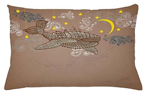 Whale Throw Pillow Cushion Cover, Steampunk Whale Flying in The Air with Moons and Stars Hand Drawing, Decorative Rectangle Accent Pillow Case, 26