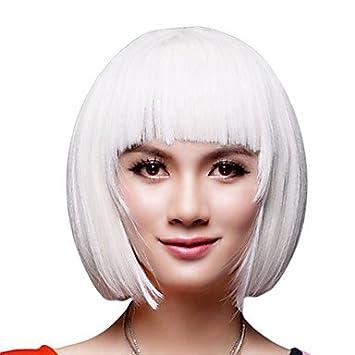OOFAY JF® sin tapa corto bob peluca blanca sintética