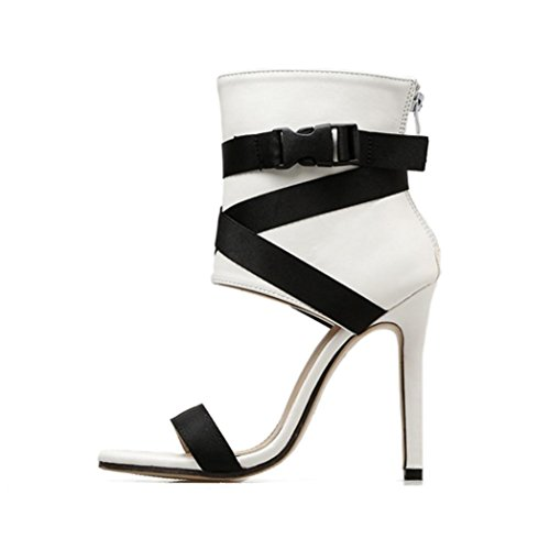 Women Dress Wedge Sandal,2018 Adjustable Strap Roman High Heels Peep Toe Shoes for Party Casual [US 5-7.5] (White, US:7.5) ()