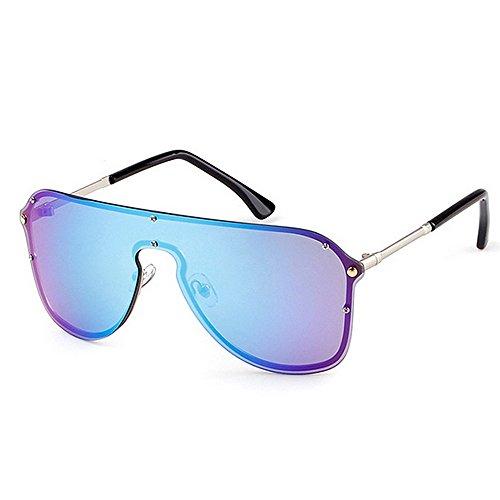 Color Las Gafas Ultravioleta Las Azul para Protección Mujeres Conducir de de Azul Pieza de sin Peggy Vacaciones Las Playa Sol una del Tamaño Gran de Marco Gu la de Verano de 7xwAf