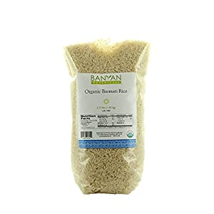 Banyan Botanicals Basmati Rice - USDA Organic - Long-Grain Aromatic Rice Variety - Fluffy & Quick Cooking