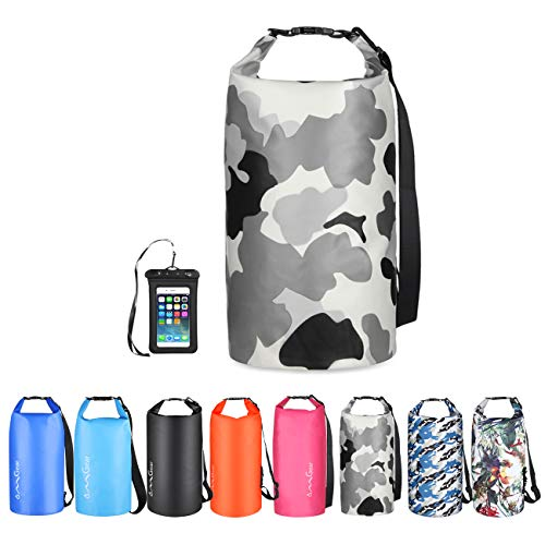OMGear Waterproof Dry Bag Backpack Waterproof Phone Pouch 40L/30L/20L/10L/5L Floating Dry Sack for Kayaking Boating Sailing Canoeing Rafting Hiking Camping Outdoors Activities (Camouflage3, 20L)