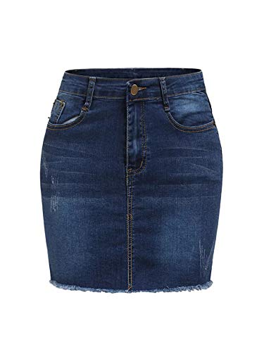 SheIn Women's Basic Stretchy Mini Short Bodycon Denim Skirt Navy ()