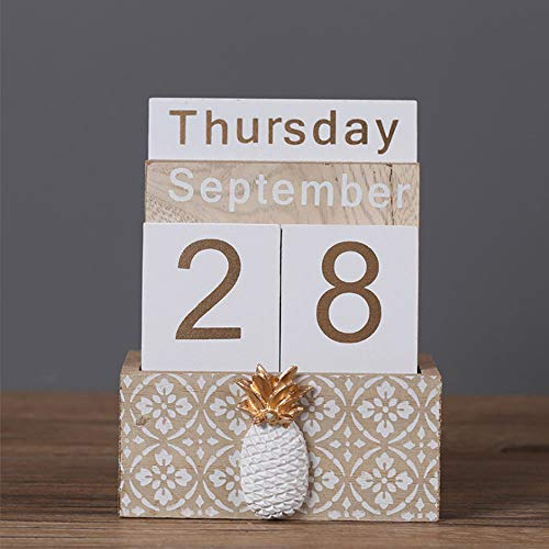 - Perpetual Calendar, Buery Wooden Calendar Block Calendar Vintage Wood Block Calendar for Home Office Desk Accessories (Beige)