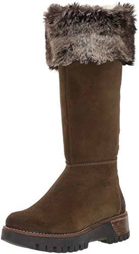 Bos. & Co. Womens Graham Snow Boot Oliva / Marrone / Beige Pelle Scamosciata / Eco-pelliccia