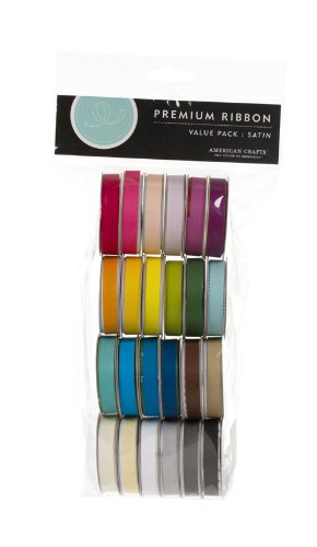 American Crafts Solid Satin Ribbon Value Pack 24 1-Yard Spools, Color Set 1