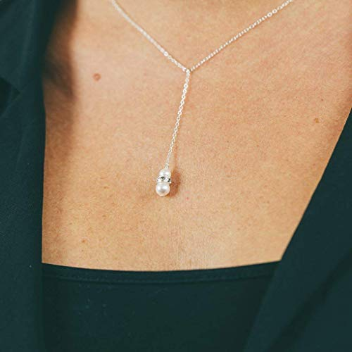 (Sterling Silver Crystal Lariat Necklace Bridal Wedding Jewelry)
