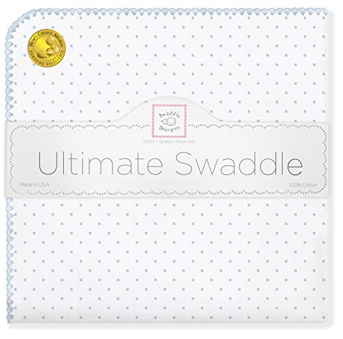 (SwaddleDesigns Ultimate Swaddle, X-Large Receiving Blanket, Made in USA Premium Cotton Flannel, Pastel Blue Classic Polka Dots (Mom's Choice Award Winner))
