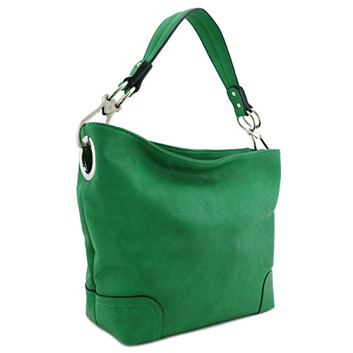 (Hobo Shoulder Bag with Big Snap Hook Hardware (Kelly Green))