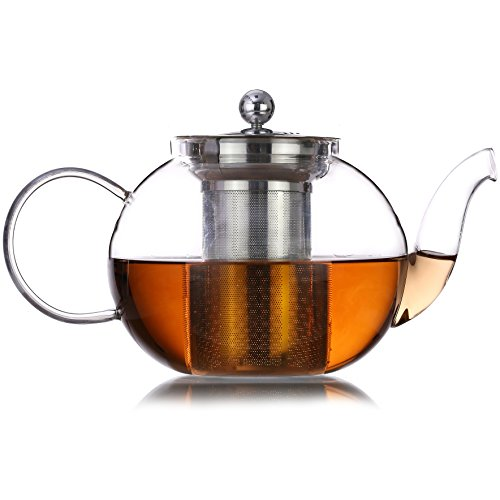 Borosilicate Glass Teapot, Stovetop Safe Tea Kettle and Tea Strainer with Removable Infuser, 35oz Blooming and Loose Leaf Tea Pot, Microwavable and Dishwasher Safe - Includes 4 Double Wall 80ml cups