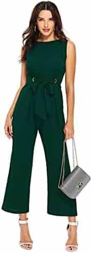 fdb54e97c63 Verdusa Women s Sleeveless Grommet Detail Tie Waist Front Jumpsuit Romper