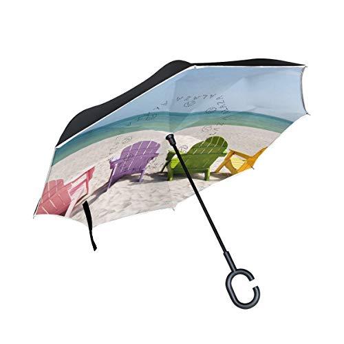 All agree Reverse Umbrella Summer Beach Chair Inverted Umbrella Reversible for Golf Car Travel Rain Outdoor Black -